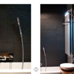 czarne płytki w łazience