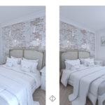 sypialnia z bieloną cegłą