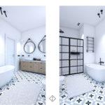 płytki we wzorek w łazience
