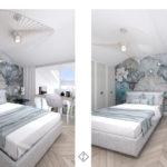sypialnia z tapetą w kwiaty