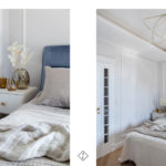 niebieskie łóżko welurowe