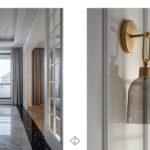 złote lampy w korytarzu