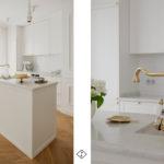złoty kran w białej kuchni